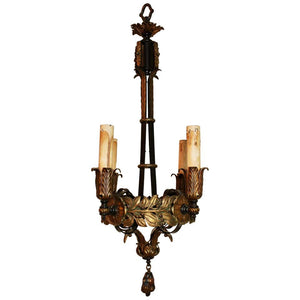 Beautiful Small 1920s Wrought Iron/Brass Chandelier