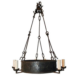 Large French 1920s Wrought Iron Chandelier