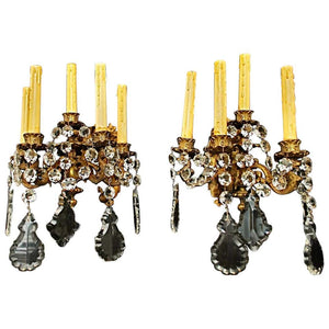 Beautiful Pair of Late 19th Century French Bronze or Crystals Sconces
