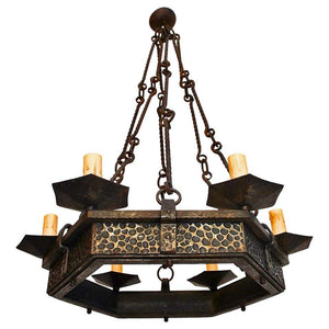 Elegant French 1930s Hands Hammered Wrought Iron Chandelier