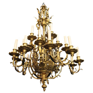 Large French 19th Century Bronze Twenty-Light Chandelier