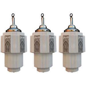 Elegant Set of Three Art Deco Lights 'Price for One'