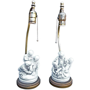 Charming Pair of 1920s French Porcelain Cherubs Lamps