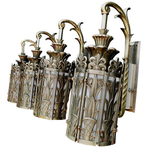 Exceptional and Very Rare Set of Four Large French Art Deco Bronze Sconces