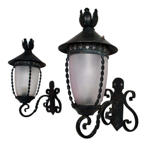 Adorable Small Pair of French 1940's Wrought Iron Outdoor/Indoor Sconces