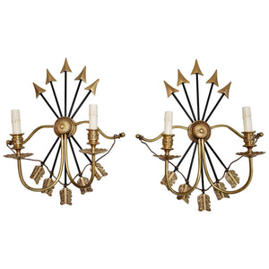 Large and Rare Pair of Empire Sconces
