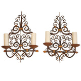 set of four French 1920 Wrought Iron Sconces