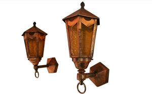 Elegant Pair of 1930s Copper Outdoor Sconces