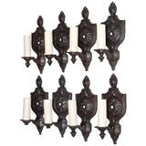 Rare Set of eight 1920 cast iron sconces ( four are sold )