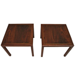 Beautiful Pair of Harvey Probber Side Tables, Made of Rosewood and Brass Inlaid