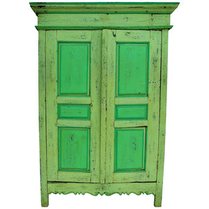 Beautiful Late 19th Century Rustic Green Hutch or Armoire