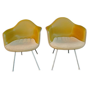 Pair of Charles Eames Bucket Chairs with Two-Tone Original Fabric