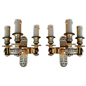 pair of antique French 1940 bronze sconces