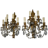 Turn of the Century French Bronze and Crystal Sconces Louis XV Style