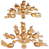 Very Large 1950 Italian Gilded Handmade Iron Sconces