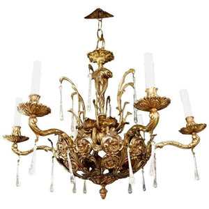 Beautiful 1940s Solid Bronze Chandelier with Fishes in the Center