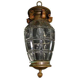 Elegant French Bronze Lantern with Beautiful Glass, circa 1900s