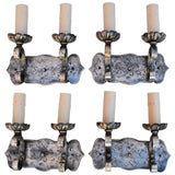 Beautiful Set of Four Heavy 1920s Silver Color Sconces