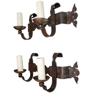 Pair of French 1940s Handmade Wrought Iron Sconces