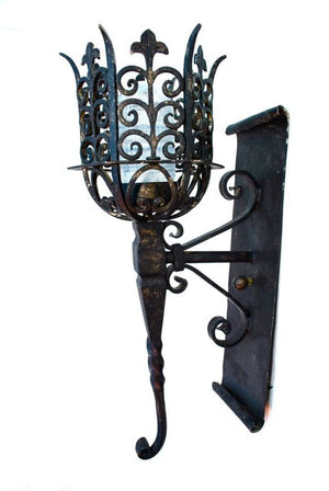 Wrought iron reproduction outdoor/indoor sconces