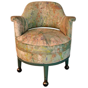 Very Rare Monterverdi Young Chair with Hand-Painted Jack Lenor Larsen Fabric