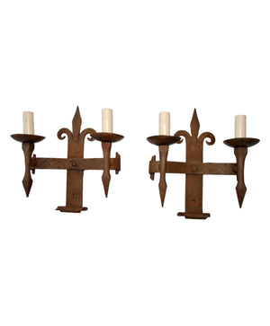 Elegant Large Pair of French 1920s Wrought Iron Sconces