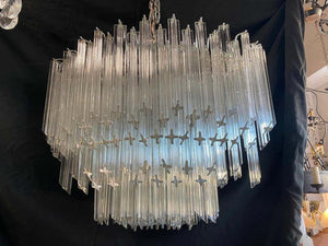 Impressive and Rare Oval Murano Crystal Glass Light Design Venini Style