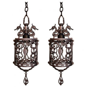 Elegant Pair of 1920s Small Lantern