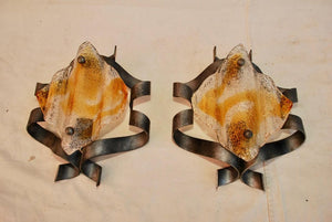 Pair of Murano Sconces with a Rare Design by Mazzega
