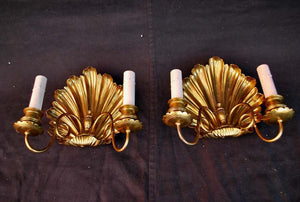 Beautiful Late 19th Century Brass Shell Sconces