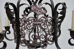 Elegant 1920s Small Wrought Iron Chandelier