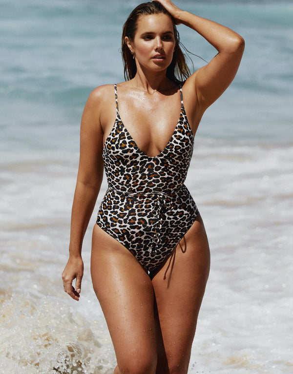 Curve Model Bree McCann in Code B Leopard Print One Piece Swimsuit shot by Josie Clough