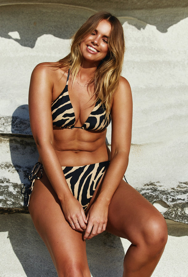 Curve Model Bree McCann in Code B Zebra Print String BIkini  Shot by Photographer Josie Clough