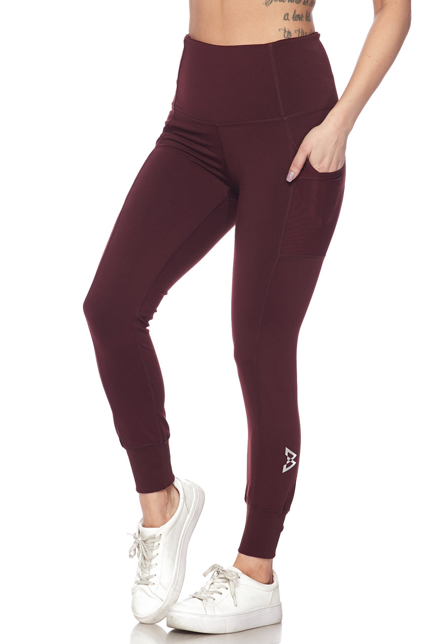 B Logo Ribbed and cuffed Legging
