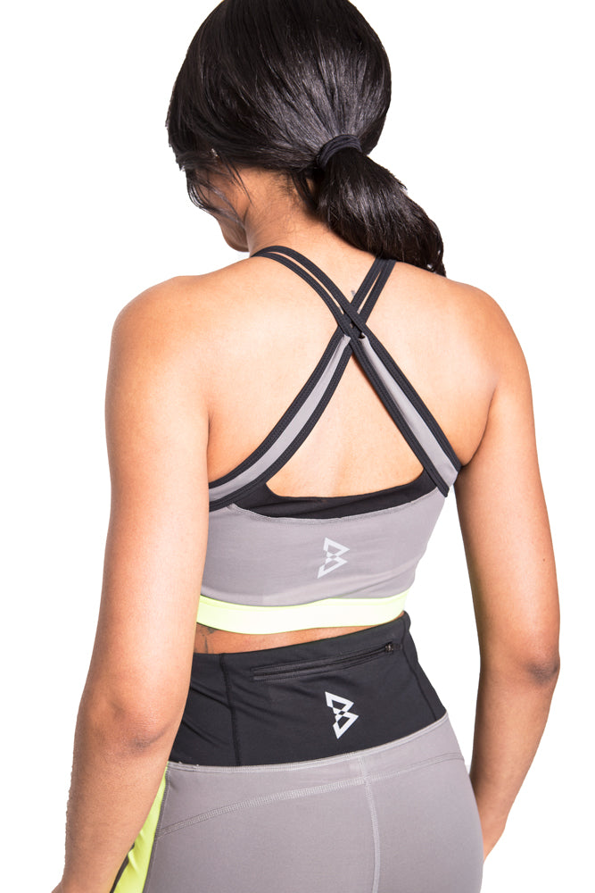 Neon Color Block X Stripe Sports Bra