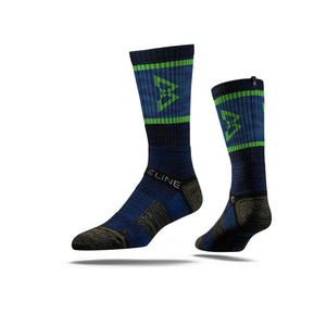 Strideline x Beast Mode 2.0 Crew Socks in Blue & Green
