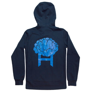 Head8cke Brain Zip Hoodie in Navy