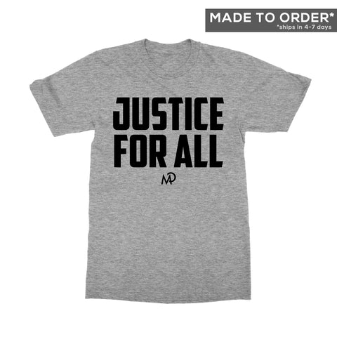 Justice for All Black Script Tee in Grey