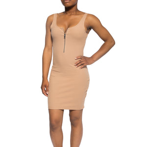 Zip Up Ribbed Dress