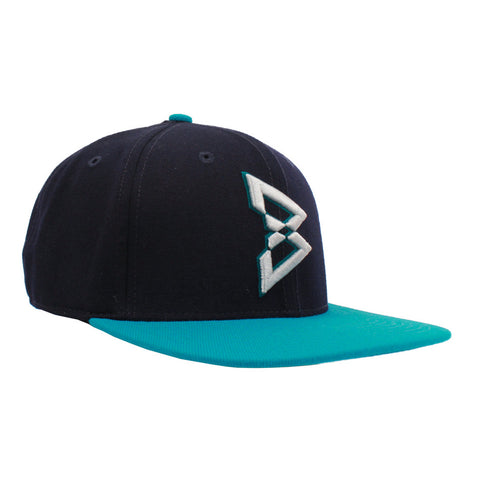 B Logo Snapback Hat in Navy