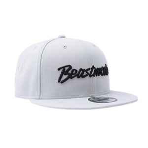 Script Shield Snapback Hat in Grey