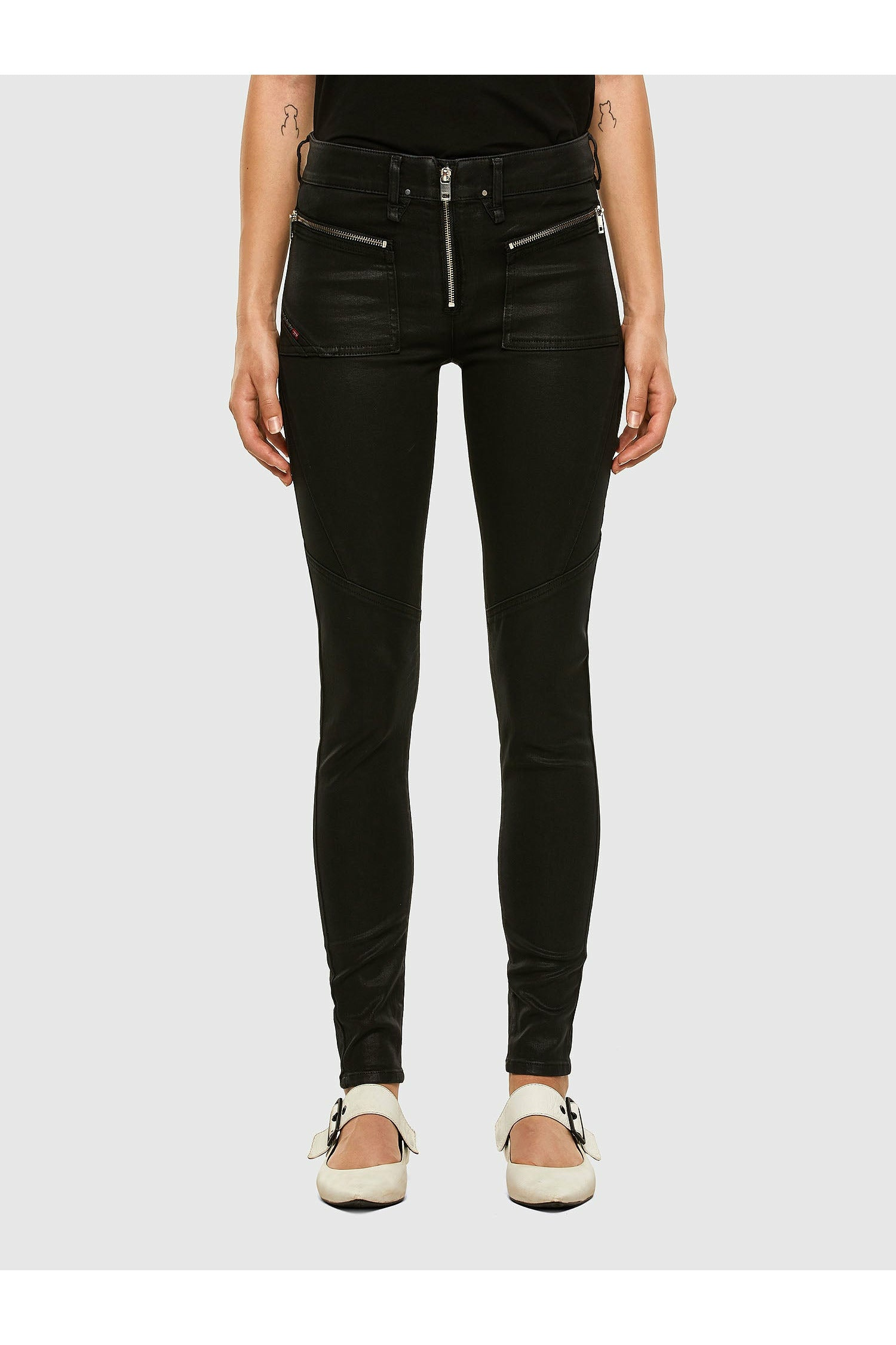 Diesel Slandy 069JT Super Skinny Regular Waist - Black Mirrored