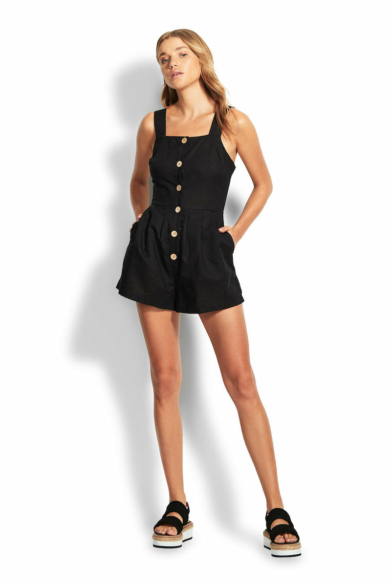 Seafolly Button up Romper - Black