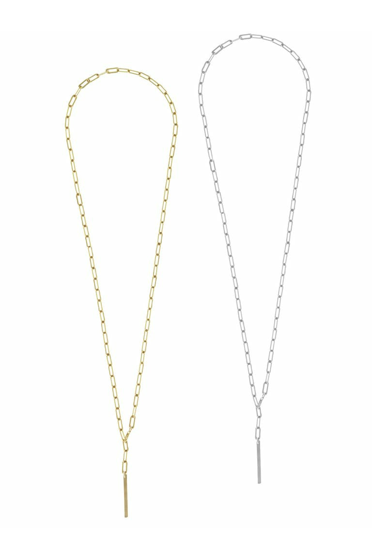 Misuzi - Heavy Chain Lariat with Mini Bar Necklace - Sterling Silver