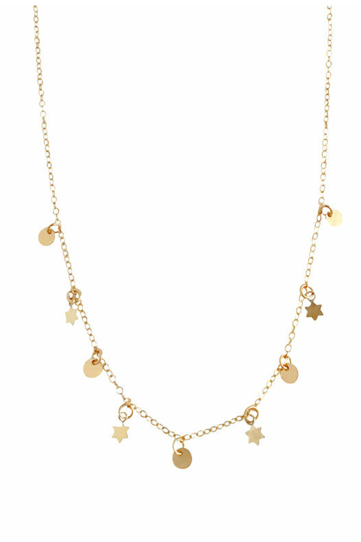 Misuzi - Nevada Mini Multi Star and Disc Necklace - Gold