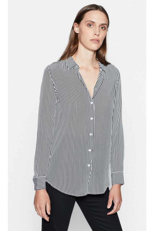 Equipment Slim Signature Silk Shirt - Black/White Stripe