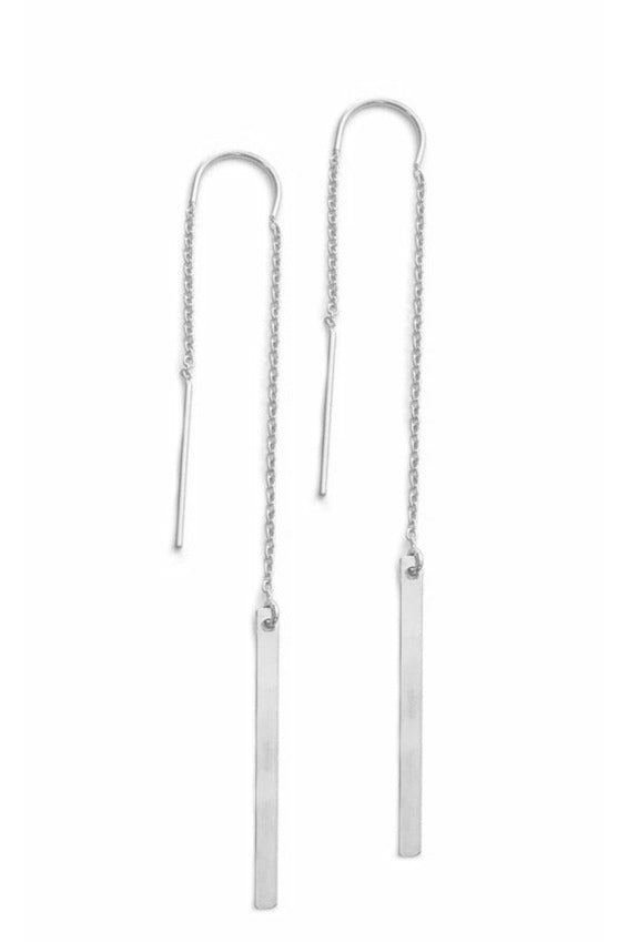 Misuzi - Sophie Thread Earring with Bar - Sterling Silver