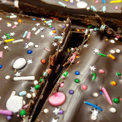 DOUBLE DARK Chocolate Birthday Cake Brittle - Canada Sweet Shop Ltd.
