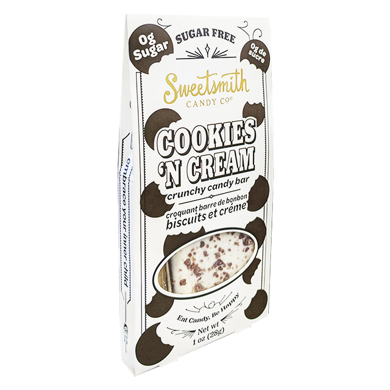 """  Sugar Free (KETO)  Cookies 'N Cream Candy Bar  "" - Sweetsmith Candy Co."