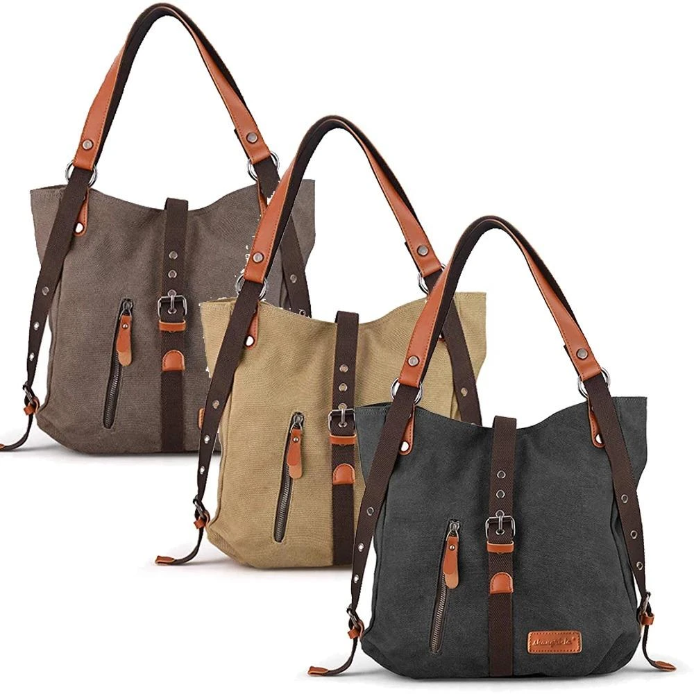 Canvas Backpack-Shoulder Bag with Extra Large Capacity [Latest model 2020]